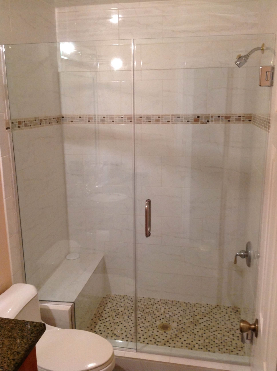 Photo In Line Frameless Shower With U Channel Intalled In