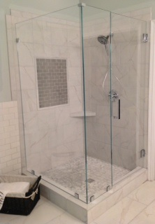 90 degree full glass panel frameless shower enclosure using low iron glass