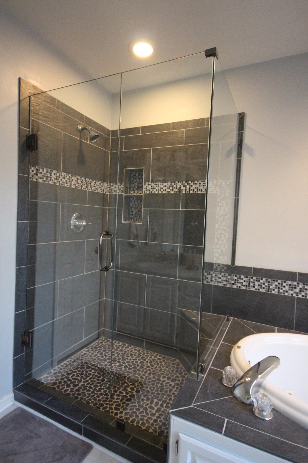 Corner Glass Shower With Gunmetal Hardware Mia Shower Doors