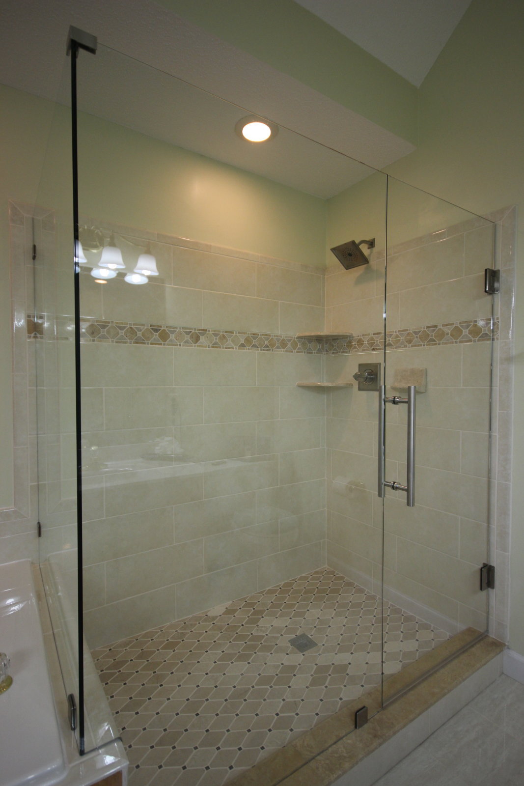 Corner Glass Shower With Ladder Handle And Brushed Nickel Hardware