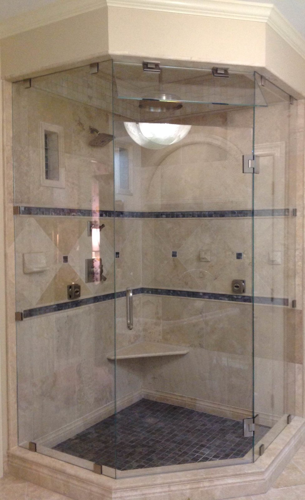 Gallery of frameless showers as seen on hgtvs love it or list it neo angle steam shower with movable transom eventelaan Images