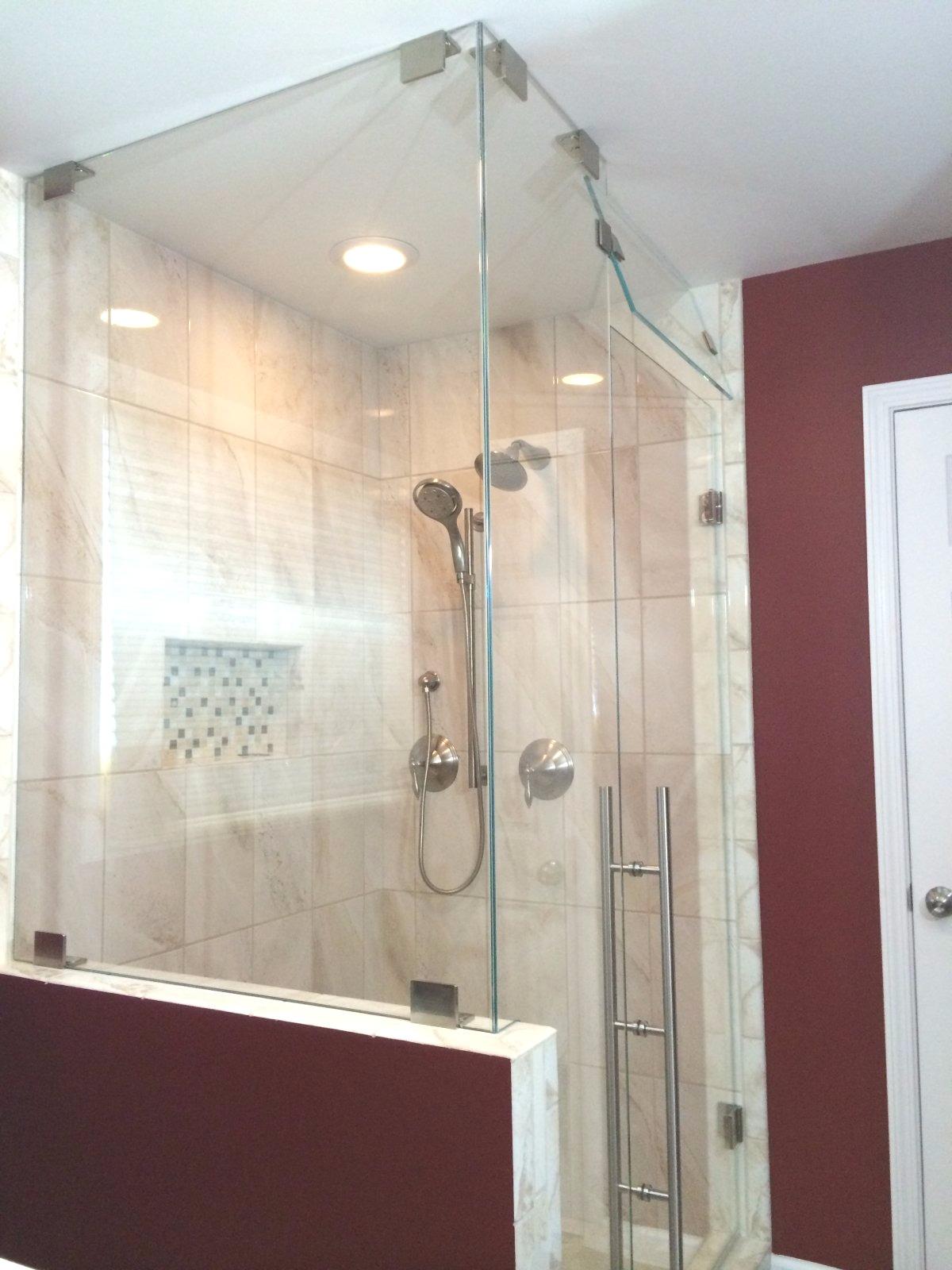 Custom Steam Shower w/ operating transom – Mia Shower Doors