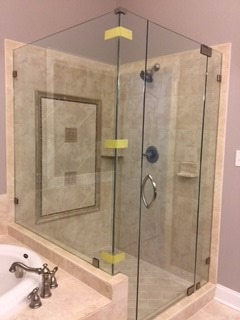 4 panel corner shower w/ standard clear glass
