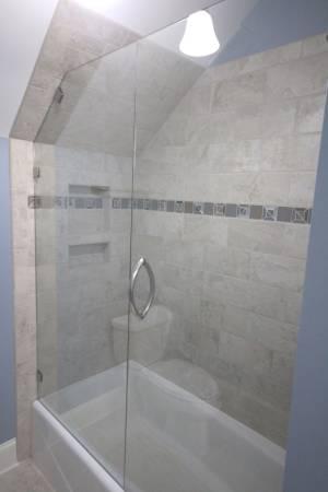 Custom Shower Glass Cut To Follow Roof Line