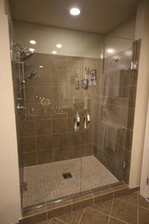 Double Door Shower With Standard Clear Glass And Upgraded Handles