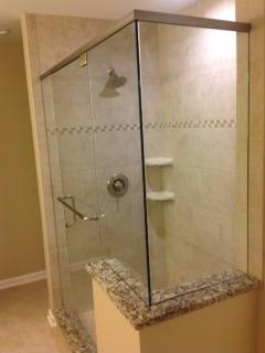 Frameless 90 Degree Shower With Header 1