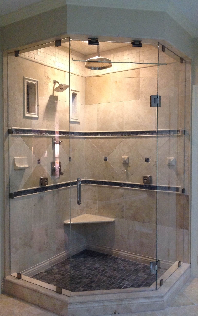 Shower door specialists in raleigh nc photo neo angle steam shower with starphire glass installed in cary by mia shower doors eventelaan Images