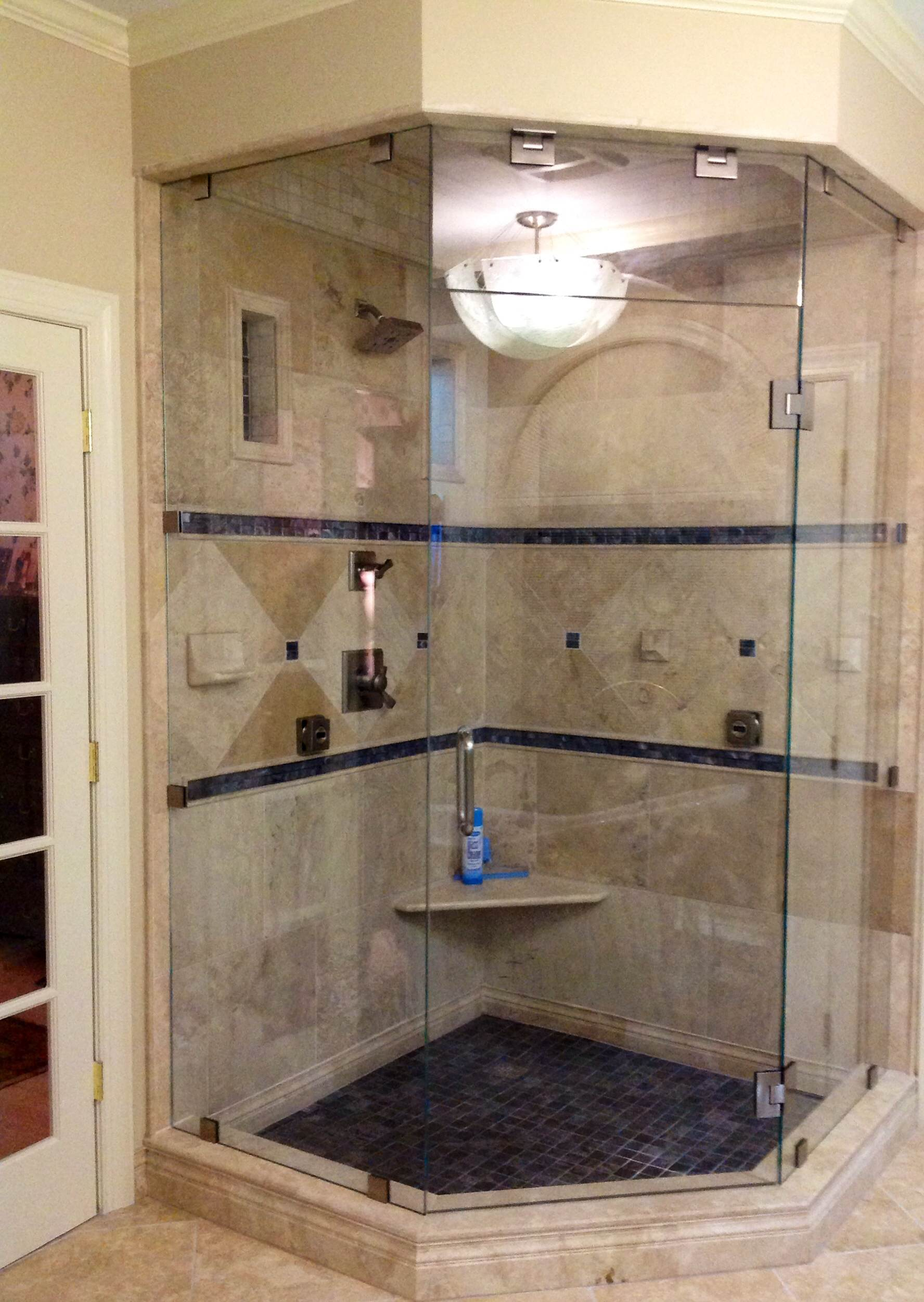 Custom Frameless Neo Angle Steam Shower Enclosure Using 3 8 Starphire Gl Raleigh Nc