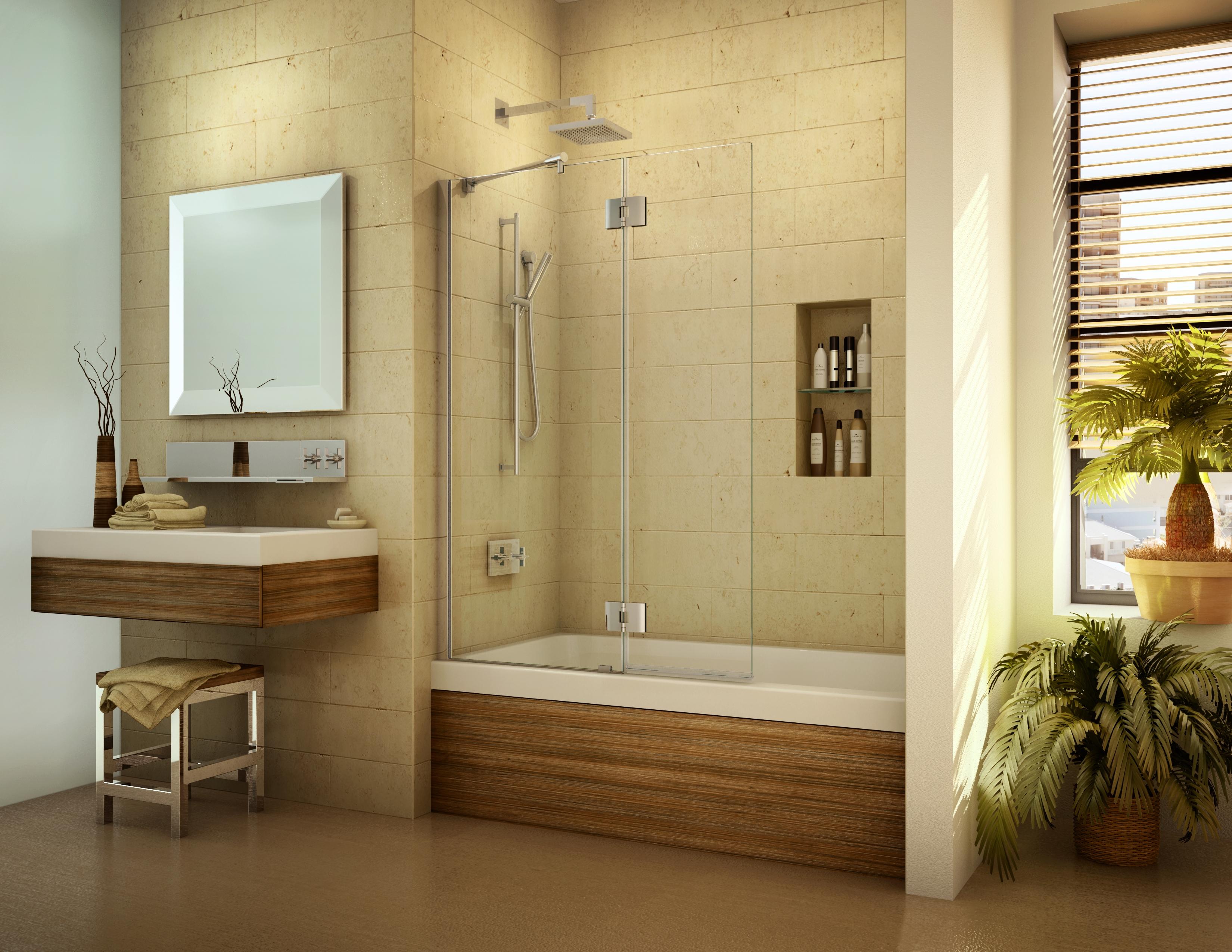 Frameless bath screen and tub shield door1 – Mia Shower Doors