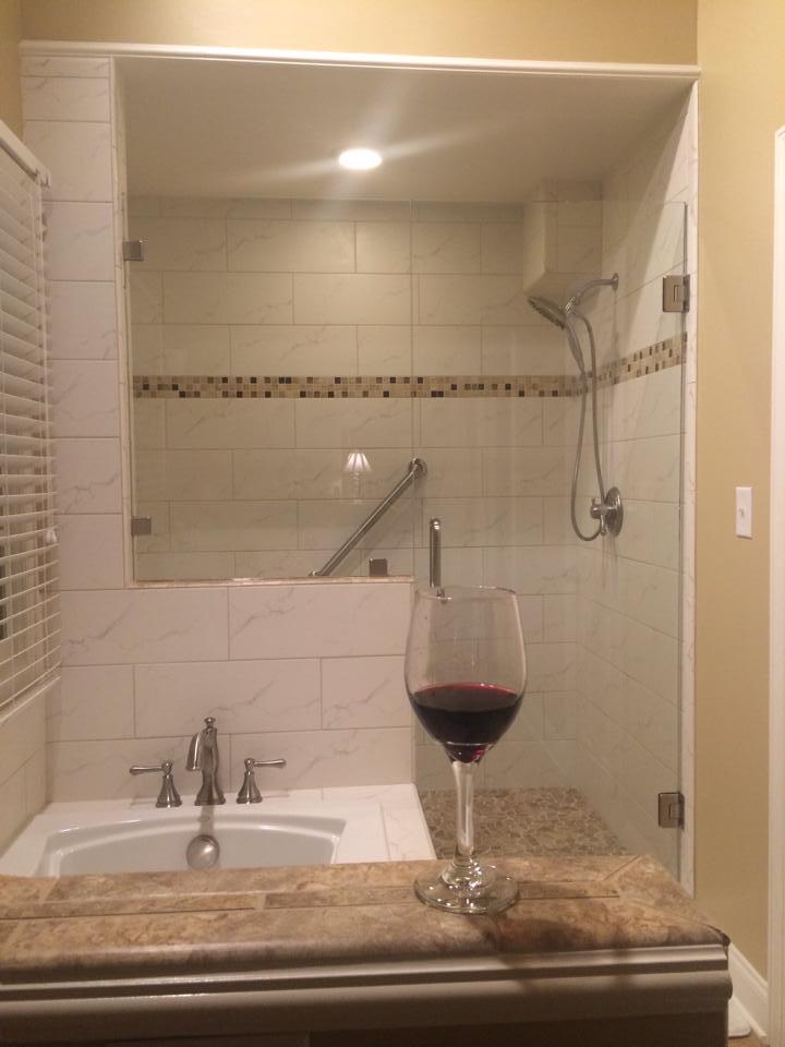 Bathroom Design Ideas Kneewall ~ Frameless door and panel on top of knee wall using